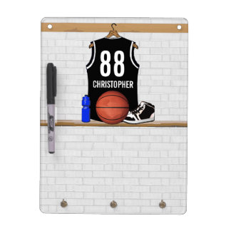 Personalized Black and White Basketball Jersey Dry Erase Board