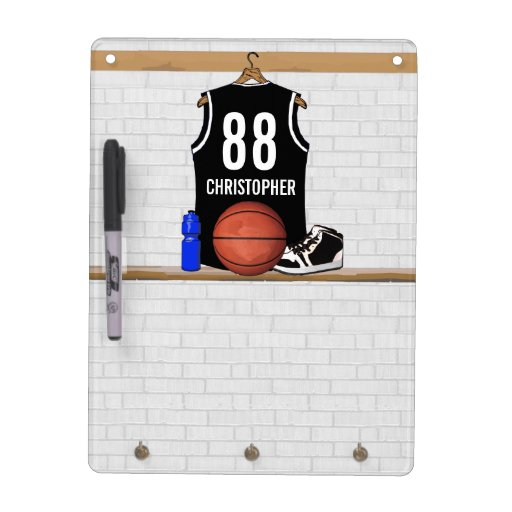 Personalized Black and white Basketball Jersey Dry Erase Whiteboards