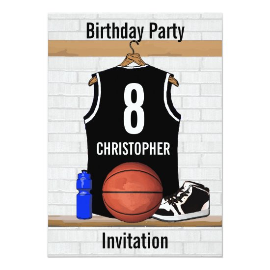 Personalized Black and White Basketball Jersey Invitation