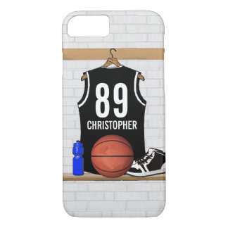 Personalized Black and White Basketball Jersey iPhone 7 Case