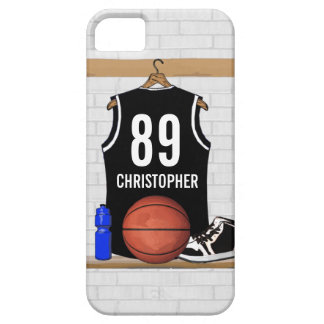 Personalized Black and White Basketball Jersey iPhone SE/5/5s Case