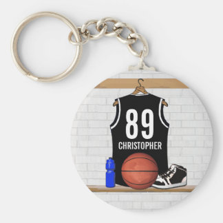 Personalized Black and White Basketball Jersey Keychain