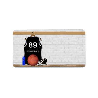 Personalized Black and White Basketball Jersey Address Label