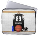 Personalized Black and White Basketball Jersey Laptop Sleeves