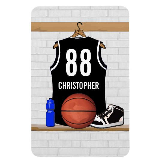Personalized Black and White Basketball Jersey Magnet