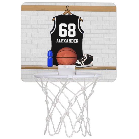 Personalized Black and White Basketball Jersey Mini Basketball Backboard