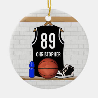 Personalized Black and White Basketball Jersey Round Ceramic Ornament