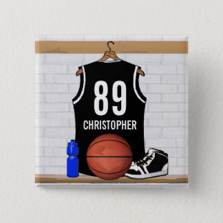 Personalized Black and White Basketball Jersey Pinback Button