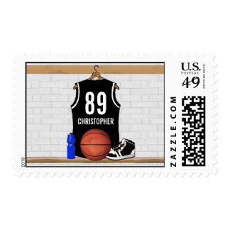 Personalized Black and White Basketball Jersey Postage Stamp