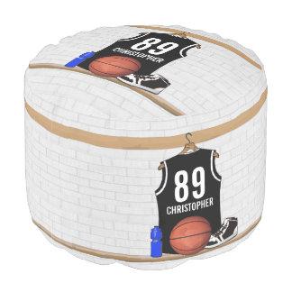 Personalized Black and White Basketball Jersey Pouf