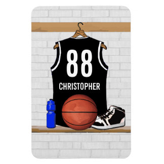 Personalized Black and White Basketball Jersey Magnets