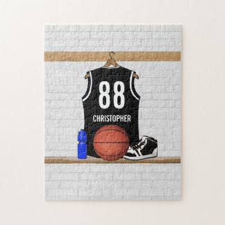 Personalized Black and White Basketball Jersey Puzzle