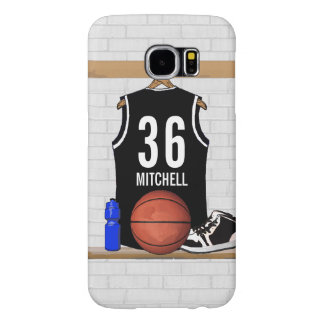 Personalized Black and White Basketball Jersey Samsung Galaxy S6 Case