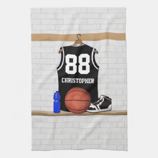 Personalized Black and White Basketball Jersey Towel