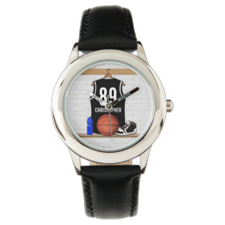 Personalized Black and White Basketball Jersey Watches