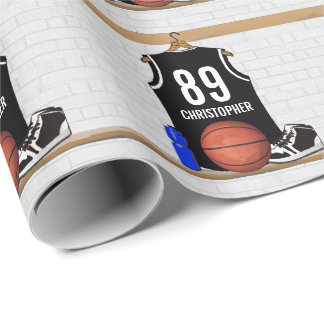 Personalized Black and White Basketball Jersey Wrapping Paper