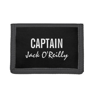 Personalized Black and White Captain Wallet