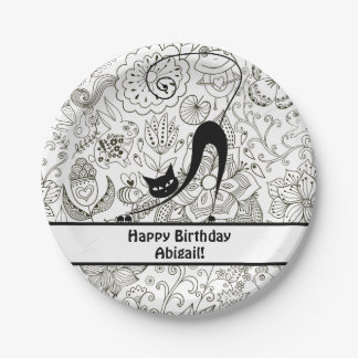 Personalized Black and White Cat Birthday Plates 7 Inch Paper Plate