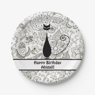 Personalized Black and White Cat Happy Birthday Paper Plate