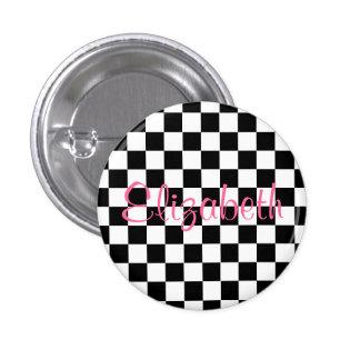 Personalized Black and White Checkerboard Button