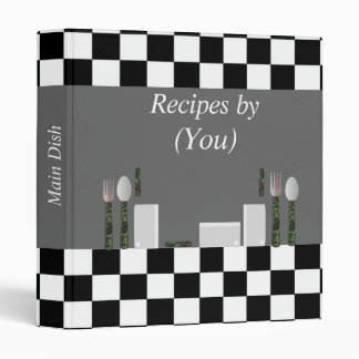 Personalized Black and White Checkerboard Cookbook Binder