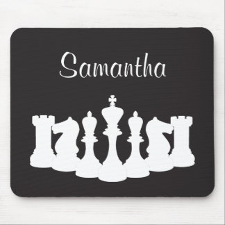 Personalized Black and White Chess Mousepad
