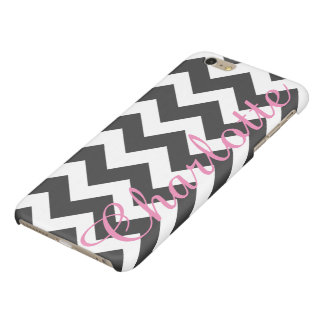 Personalized Black and White Chevron Pattern Glossy iPhone 6 Plus Case