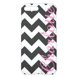 Personalized Black and White Chevron Pattern iPhone 7 Plus Case