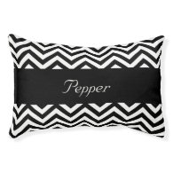 Personalized Black and White Chevron Small Dog Bed