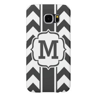 Personalized Black and White Chevron Stripe Samsung Galaxy S6 Case