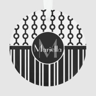 Personalized Black and white circle and stripes