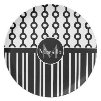 Personalized Black and white circle and stripes Melamine Plate