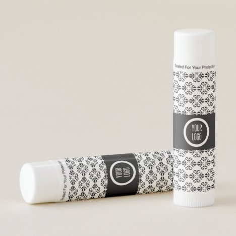 Personalized black and white damask pattern lip balm