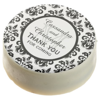 Personalized black and white damask wedding chocolate covered oreo