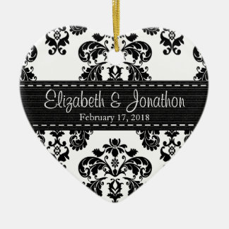 Personalized Black and White Damask Wedding Favor Ceramic Ornament