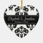 Personalized Black and White Damask Wedding Favor Double-Sided Heart Ceramic Christmas Ornament
