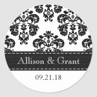 Personalized Black and White Damask Wedding Seals Classic Round Sticker
