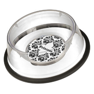 Personalized black and white damask pet bowl