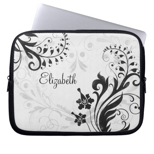 Personalized Black and White Floral Laptop Sleeve