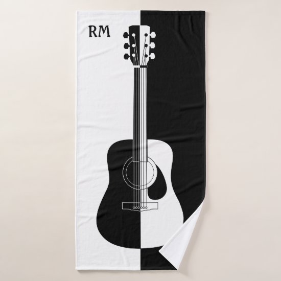 Personalized Black and white guitar art Bath Towel Set