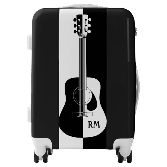 Personalized Black and white guitar art Luggage