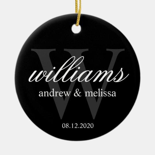 Personalized Black and White Monogram Ceramic Ornament