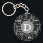 "personalized black and white monogram keychain<br><div class=""desc"">To create you just need to add your own name and initial letter to the templates</div>"
