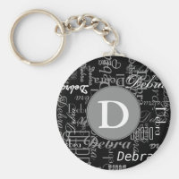personalized black and white monogram keychain