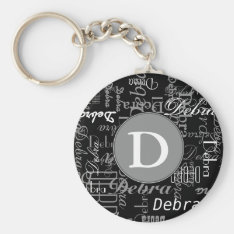 Personalized Black And White Monogram Keychain at Zazzle