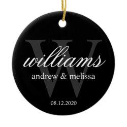 Personalized Black and White Monogram Ornaments