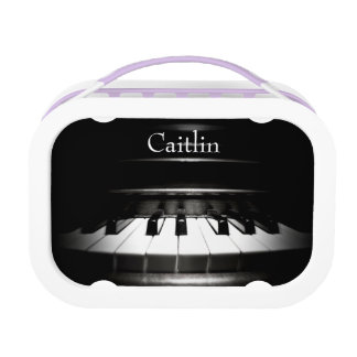 Personalized Black and White Piano Music Lunch Box