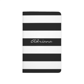 Personalized Black and White Pocket Journal