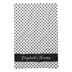 Personalized Black and White Polka Dot Hand Towels