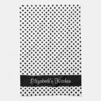 Personalized Black and White Polka Dot Kitchen Towel